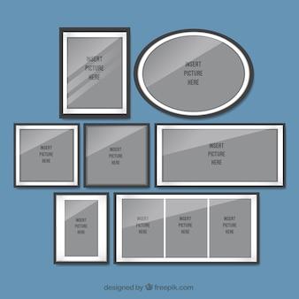 Set de marcos de fotos en diseño plano