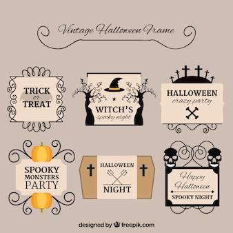 Set de marcos vintage de halloween