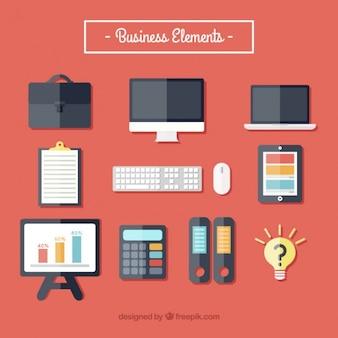 Set de material de negocios en diseño plano
