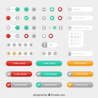 Set de modernos botones web