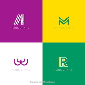Set de modernos logos con iniciales