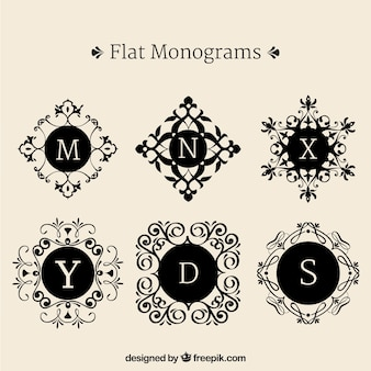 Set de monogramas decorativos en diseño plano