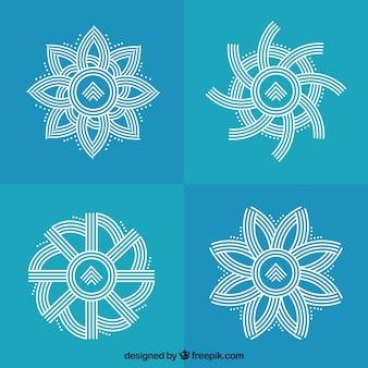 Set de monogramas florales hechos de líneas
