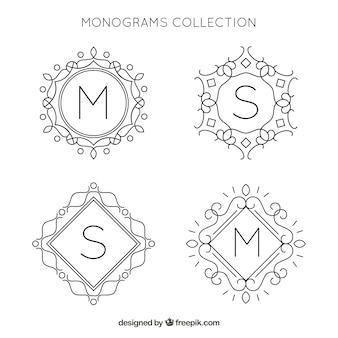 Set de monogramas ornamentales dibujados a mano