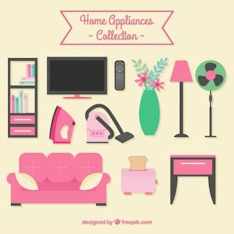 Set de muebles de casa planos y electrodomésticos
