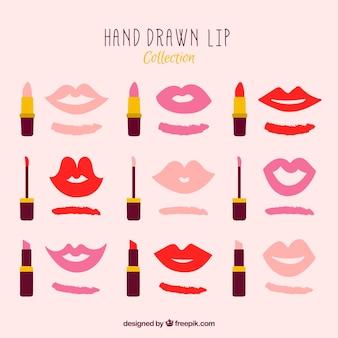 Set de muestra de pintalabios con labios