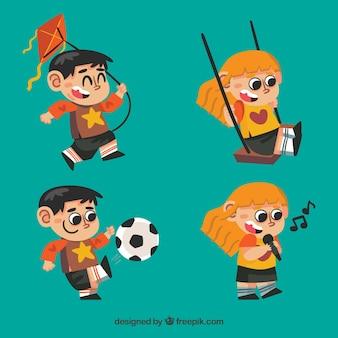 Set de niño y niña felices jugando