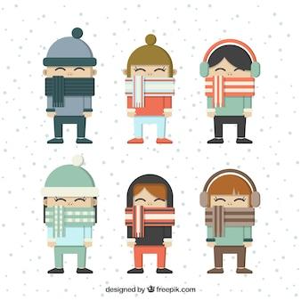 Set de niños con bonitas bufandas en diseño plano