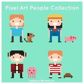 Set de niños con mascotas pixelados