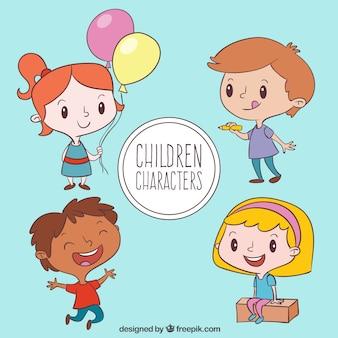 Set de niños felices dibujados a mano