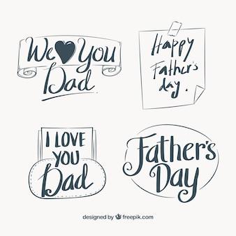 Set de nota y pegatinas retro del día del padre