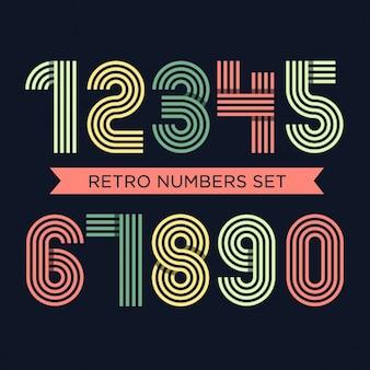 Set de números retro a color