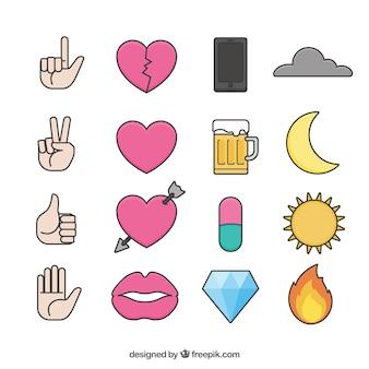 Set de objetos planos para mensajes