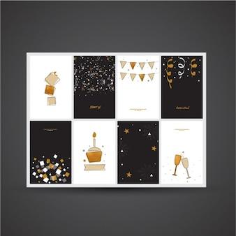 Set de ocho tarjetas elegantes para cumpleaños