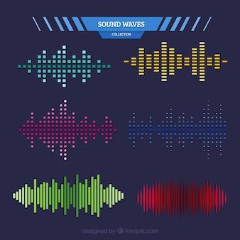 Set de ondas de sonido de diferentes formas