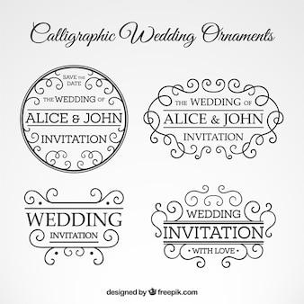Set de ornamentos caligráficos de boda