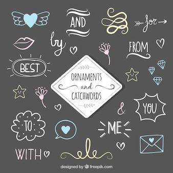 Set de palabras claves con dibujos