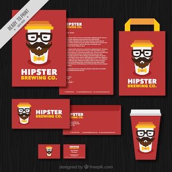 Set de papelería de cafetería hipster
