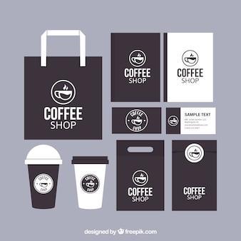 Set de papelería de marca de cafetería