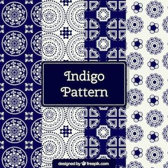 Set de patrones azules de formas ornamentales