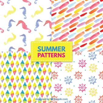 Set de patrones coloridos de verano de acuarela