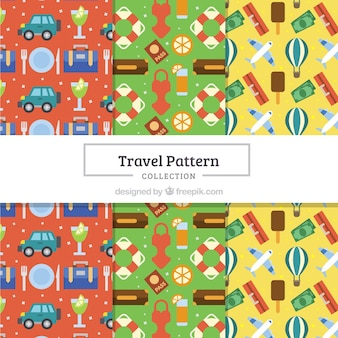 Set de patrones coloridos de viaje en diseño plano