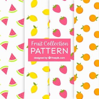 Set de patrones con cuatro frutas diferentes