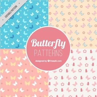 Set de patrones con mariposas en estilo plano