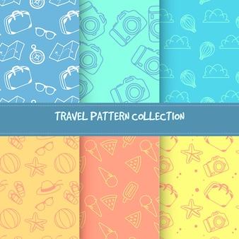 Set de patrones de colores con bocetos e elementos de verano