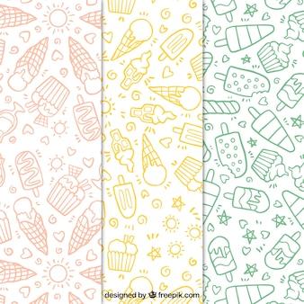 Set de patrones de helados dibujados a mano