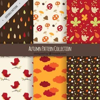 Set de patrones de otoños en diseño retro