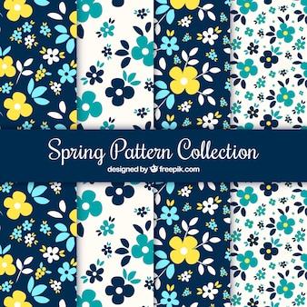 Set de patrones de primavera con flores azules y amarillas
