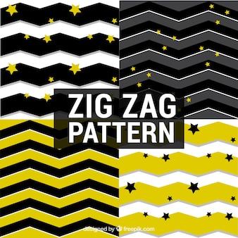 Set de patrones de rayas zig-zag y estrellas