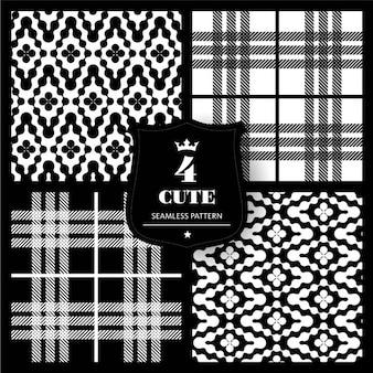 Set de patrones de tela en blanco y negro