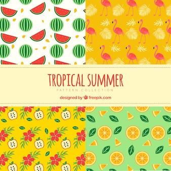 Set de patrones de verano con flamenco y frutas