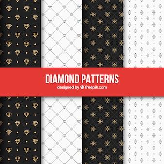 Set de patrones elegantes de diamantes