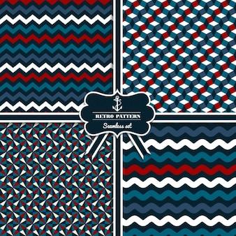 Set de patrones retro de estilo marinero continuos