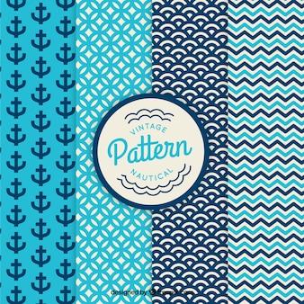 Set de patrones vintage náuticos y abstractos