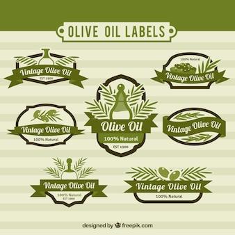 Set de pegatinas de aceite de oliva en estilo vintage