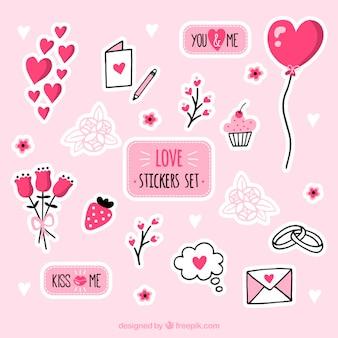 Set de pegatinas de amor