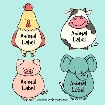 Set de pegatinas de bocetos de simpáticos animales