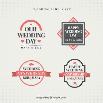 Set de pegatinas de boda vintage