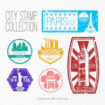Set de pegatinas de ciudades vintage