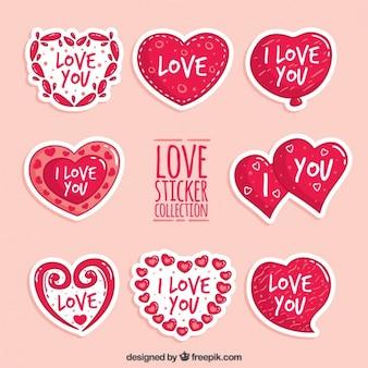 Set de pegatinas de corazones con mensajes de amor