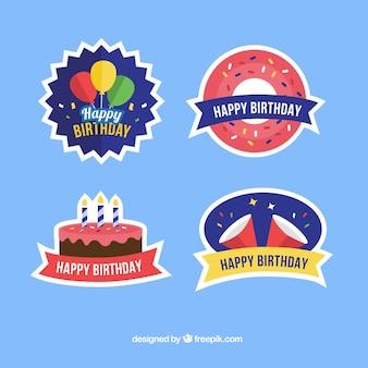 Set de pegatinas de cumpleaños planas