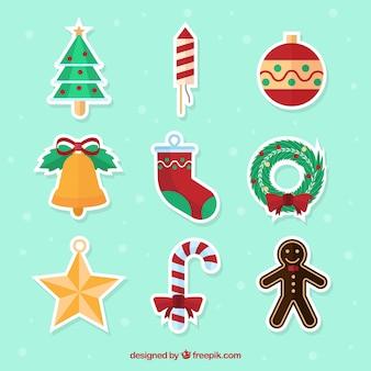 Set de pegatinas de objetos navideños en diseño plano