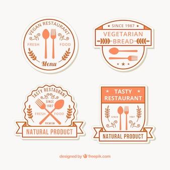 Set de pegatinas de restaurante en tonos anaranjados