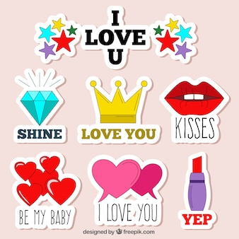 Set de pegatinas dibujadas a mano con mensajes amorosos