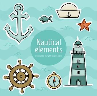 Set de pegatinas marineras dibujadas a mano