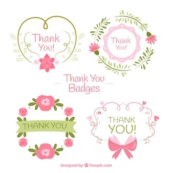 Set de pegatinas retro dibujadas a mano de agradecimiento